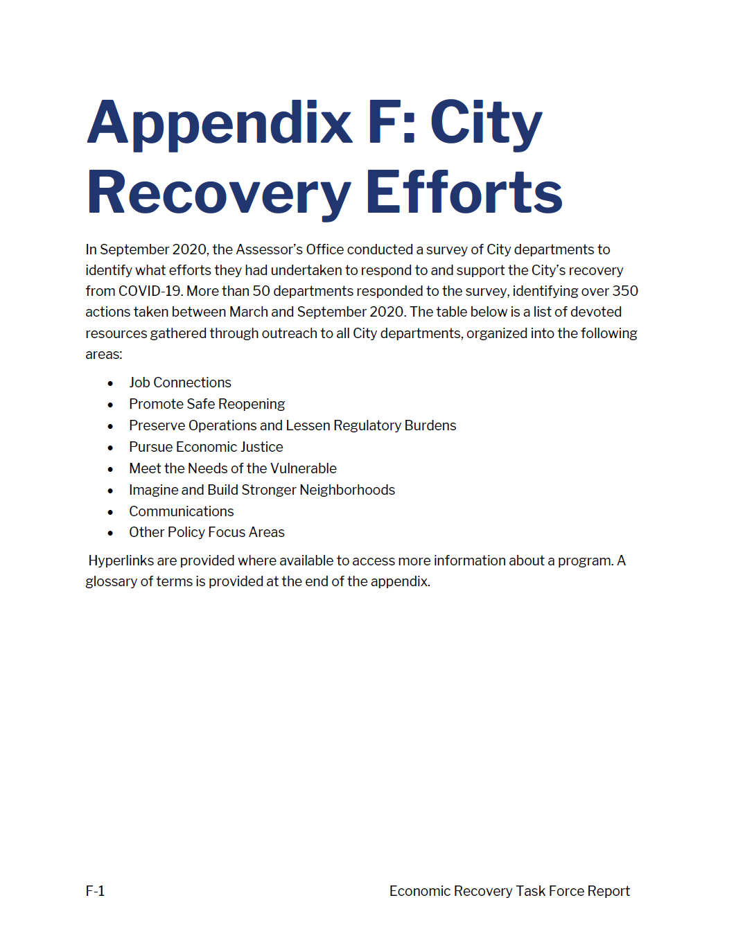 ERTF Appendix F - City Recovery Efforts